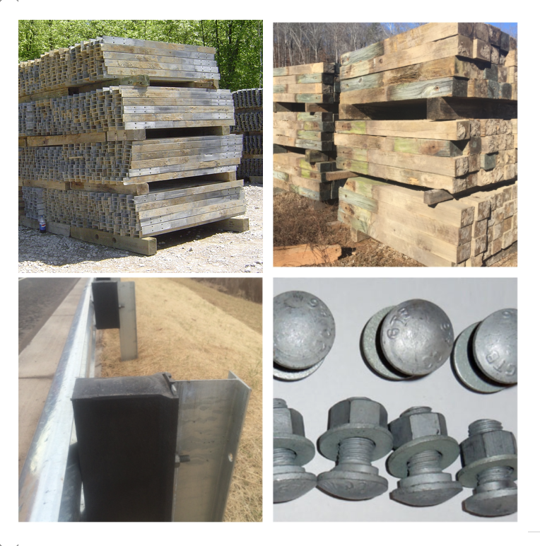 Used Highway Components for sale including I-Beam Post, Wooden Post and Guardrail Hardware